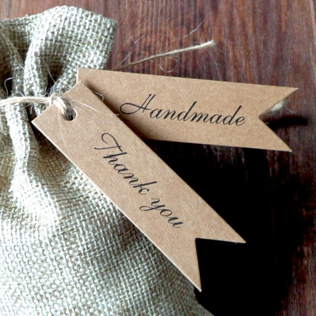 """""""Thank you"""" """" Handmade"""" Kraft Gift tags Party Wedding Message Gift Tag Hang Tag,Craft Cards Label Hemp String Included"""