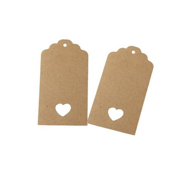 Hollow Heart Scalloped Kraft Paper Card / Blank Tag / Wedding Favour Gift Tag Price Label with 10M Rope