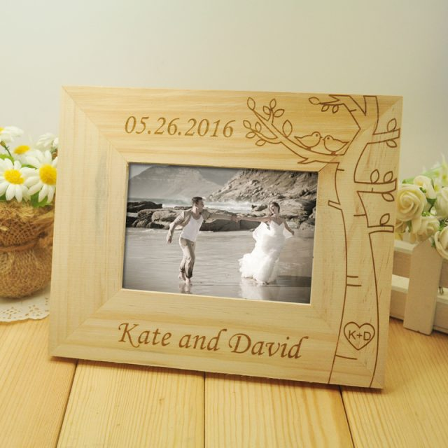 Personalised Wooden Wedding photo frame