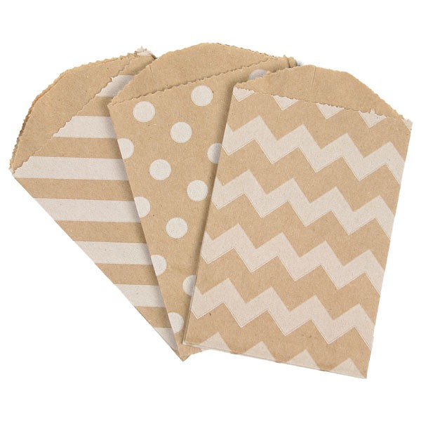 Kraft series Chevron/Striped/Dots Party Favor Bags, Bitty bag