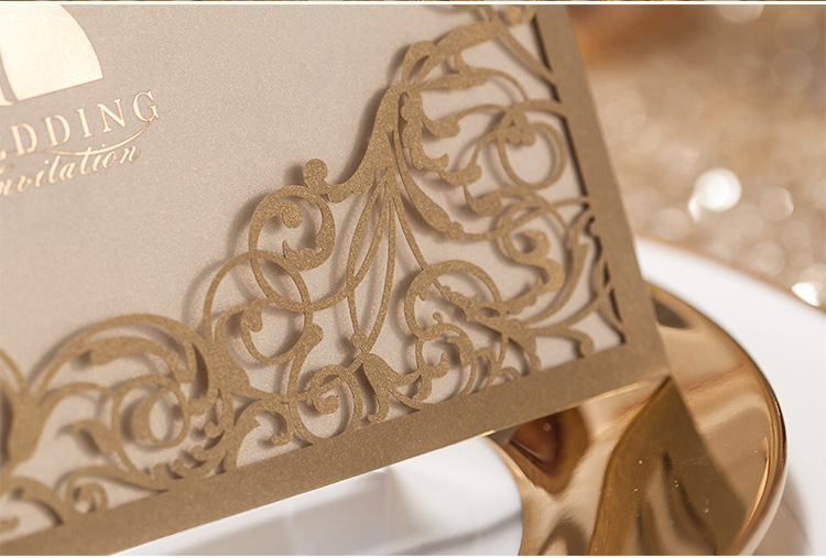 Bride Groom laser cut wedding invitations card - Gold Ivory Cream