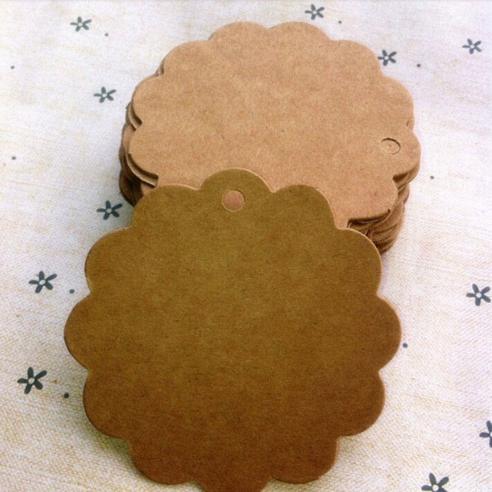 100Pcs Round  Shaped Kraft Paper Labels Food Price Marks Tags for Wedding Decoration Card Making 3Colors 6x6cm