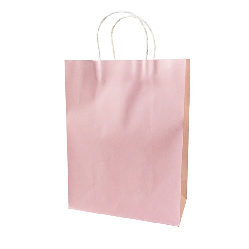 Soft Pink Kraft Bag With Handles. Available in 4 Sizes