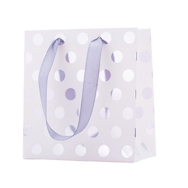 Gold and Silver Polka Dot Paper Bag