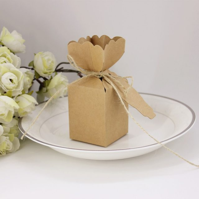Kraft Wedding Favour Cracker Boxes with Optional Thank You Gift Tag