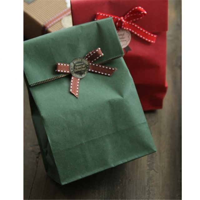 Kraft Paper Bag Available in Red, Natural and Dark Green Colours