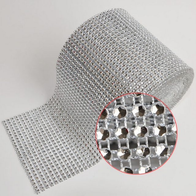 1 yard  Diamond Mesh Wrap Cake Roll  Bling  Crystal Rhinestone Ribbon Wedding Favor Decor Party Supplies Decoration
