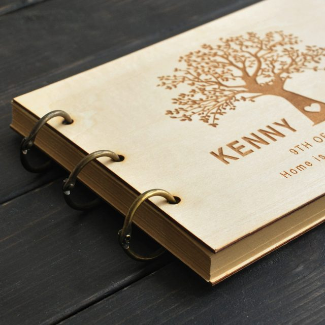 Personalised Engraved Wedding Tree Guest Book Wood