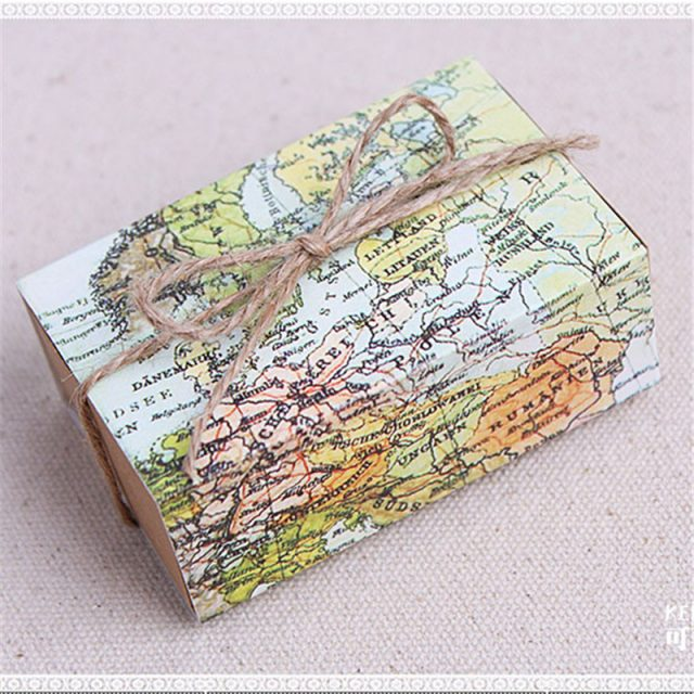 50pcs Casamento World Map Wedding Favors Boxes Wedding Candy Box Wedding Favors And Gifts Event & Party Decoration Supplies