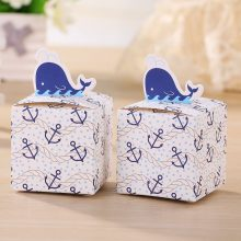Nautical Whale Favor Gift Boxes For Candy , Wedding Favors And Gifts Candy Box Baby Shower Party Decoration 12Pcs
