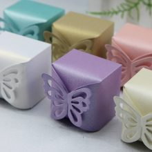New 100pcs Lovely Butterfly Pattern Elegant Pearl Paper Wedding Party Favor Gift Candy Box FREE SHIPPING