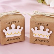 Little Prince Princess Brown Kraft Paper Gift Box Wedding Birthday Children Party Favors Candy Boxes with Crown and Twine 12 Boxes