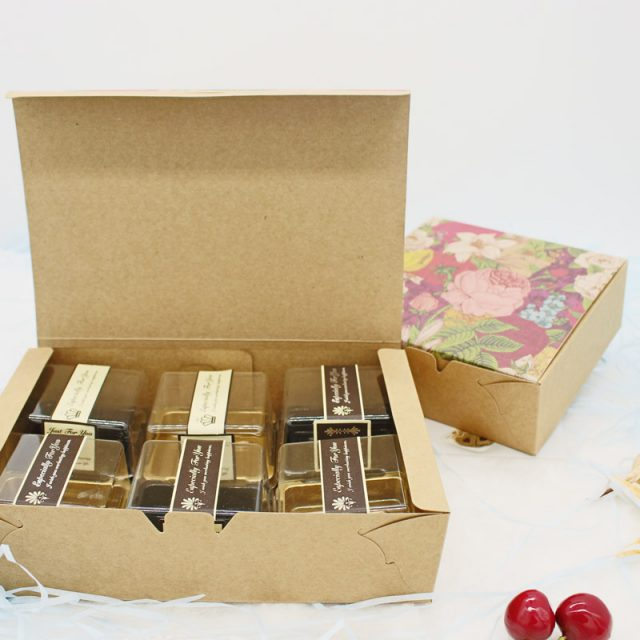 Vintage Floral Printed Baking Food Carton Kraft Boxes, Cookies Gift Boxes, Macaron Boxes Packaging 20.3×13.6x5cm