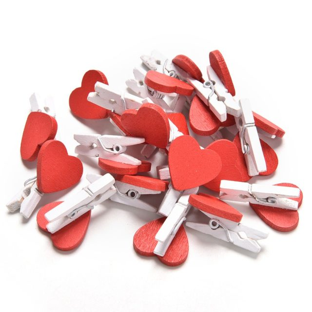 Mini Heart Love Wooden Clothes Photo Paper Peg Pin Clothespin Craft Postcard Clips Home wedding Decoration