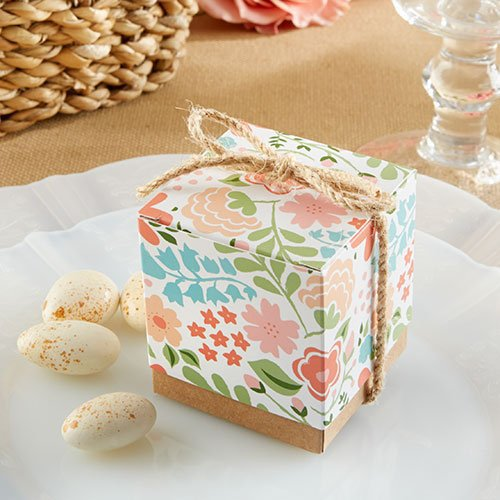 Vintage Floral Kraft Birthday Party Candy/Chocolate Favor/Favors Box/Boxes With Natural Twine 12pieces