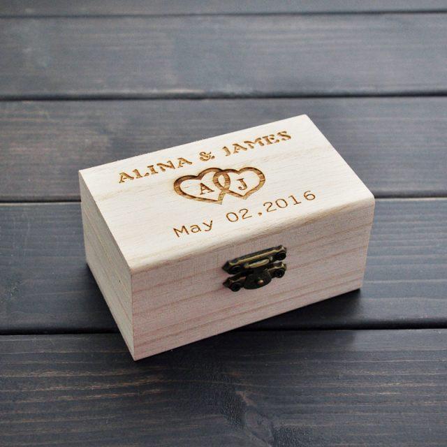 Rustic Wedding Ring Bearer Box, Personalized Wedding Ring Box, Wooden ring holder box, Wedding Decor Customized Wedding Gifts