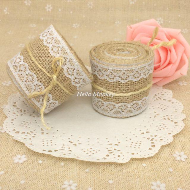Jute Natural Jute Ribbon Lace Burlap for weddings