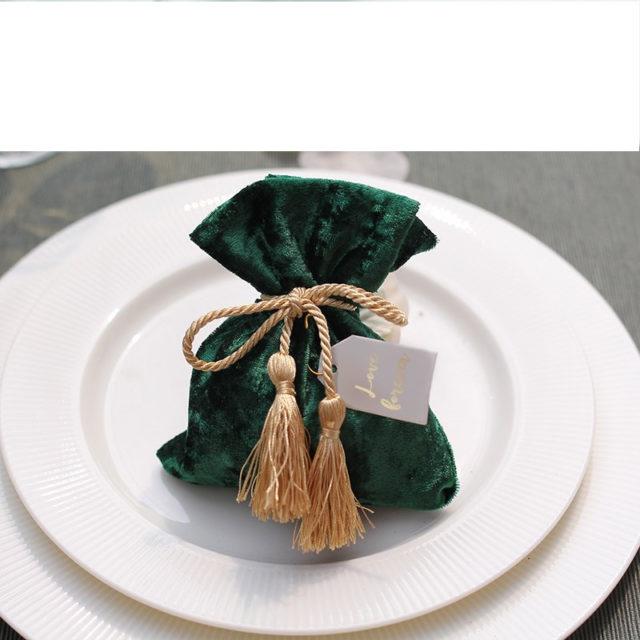 Green Velvet Drawstring Bags