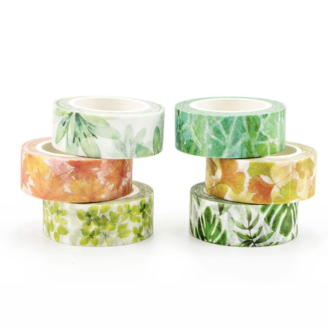 Adhesive Washi Tape with Floral Designs