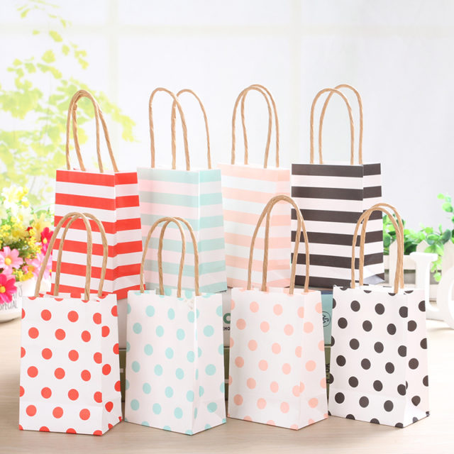 Small Polka Dot Striped Paper Bags