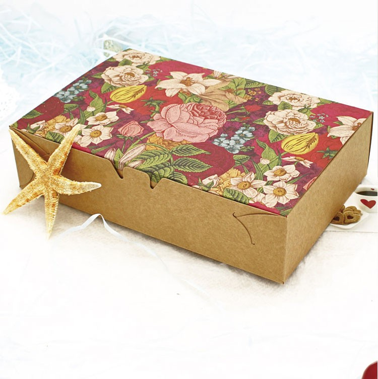 Vintage Floral Printed Baking Food Carton Kraft Boxes, Cookies Gift Boxes, Macaron Boxes Packaging 20.3x13.6x5cm